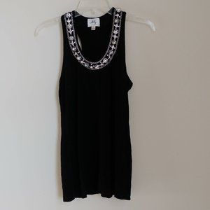 Milly NY Embellished Racerback Tank Top Black